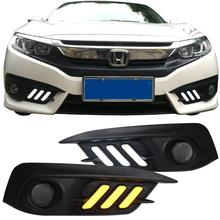 1 Set Car LED Daytime Running Light DRL Turn Signal Lights Fog Lamp Bulbs For Honda Civic 2016 2017 2018 Car Styling Accessories turn signal and dimming style relay car led drl daytime running fog lights accessories for honda crv 12 14 with fog lamp hole
