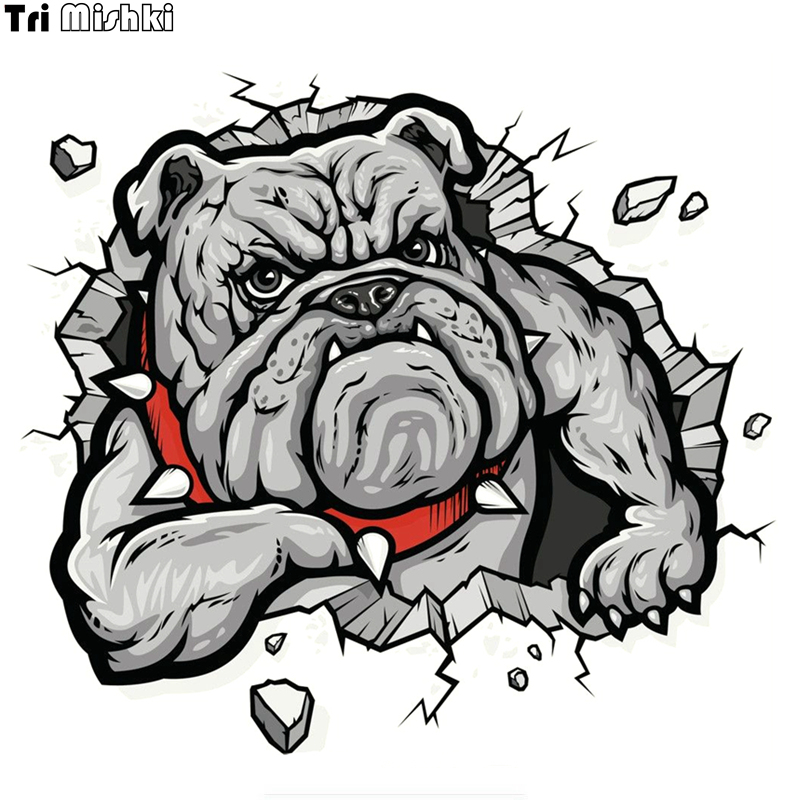 Tri Mishki WCS096 15x14cm Bulldog In The  Wall Hole Car Sticker Funny Colorful Car Stickers Auto Automobile Decals
