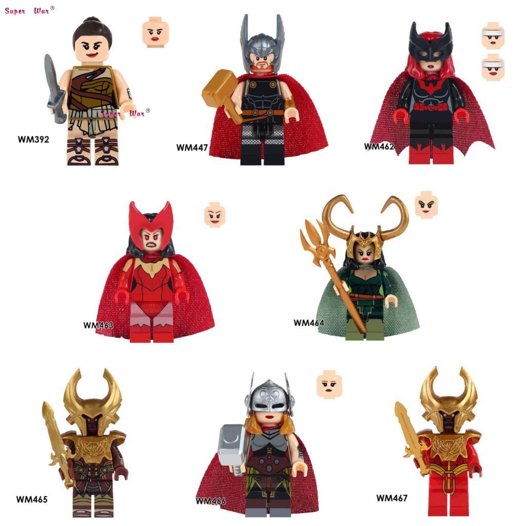 20 штук marvel Мстители Wonder Woman Figur хаймдалль Тор леди Локи рыцарь Бэтмен Алая ведьма строительные блоки кирпичи Классические игрушки