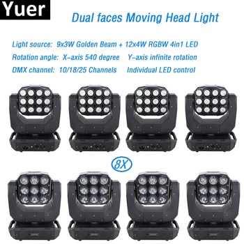 8 pçs/lote Double Face Infinito Rotating Moving Head Light 100W led feixe wash moving DMX512 para o Disco KTV Clube partido caixa de luz