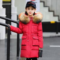 Girls Parka Coats Down Jackets with real fur hooded 2018 new Girls Winter Coat kids winter clothing