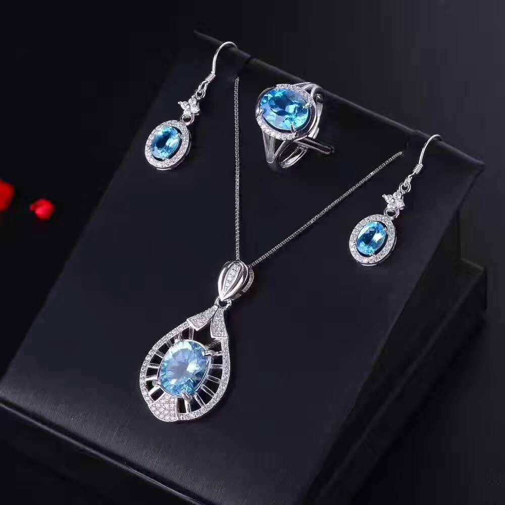 Natural blue topaz gem jewelry sets natural gemstone ring Pendant Earrings 925 silver Stylish Personality fan women fine jewelry natural green jasper gem jewelry sets natural gemstone ring earrings pendant 925 silver stylish elegant round women fine jewelry