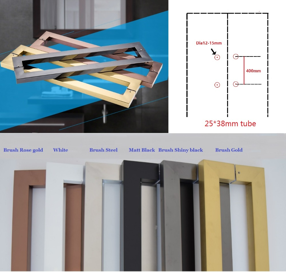 Premintehdw CC=400MM Modern Square Glass Door Pull Handle Commercial Entry Residential Shower Box