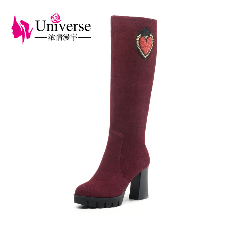 Universe knee high boots for women winter high heel boots cow suede black wine red boots comfortable platform boots G347Universe knee high boots for women winter high heel boots cow suede black wine red boots comfortable platform boots G347