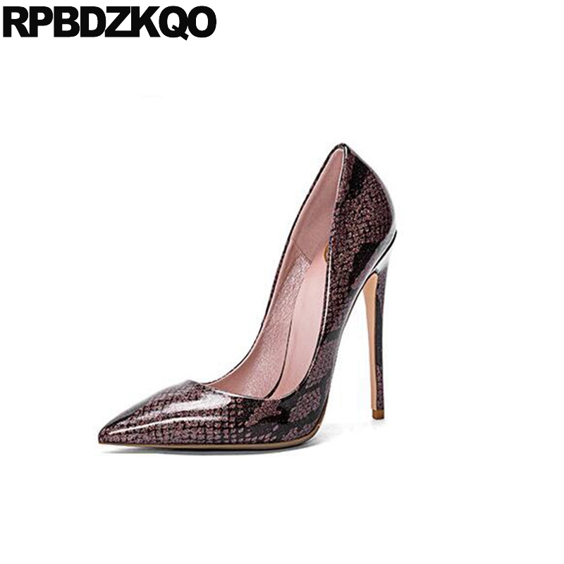 5956eff4882 US $58.32 36% OFF|Scarpin 2017 Ladies High Heels Shoes Size 33 Fetish Brown  12cm 5 Inch Pumps 4 34 Unique 10 42 Elegant Pointed Toe Big Snakeskin-in ...