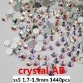 Cristal del Hotfix Rhinestones 1440 unids ss5 1.7-1.9mm Glitter Cristal Blanco AB Pegamento En Strass Piedras Para Uñas de Arte Caja Del Teléfono Diy
