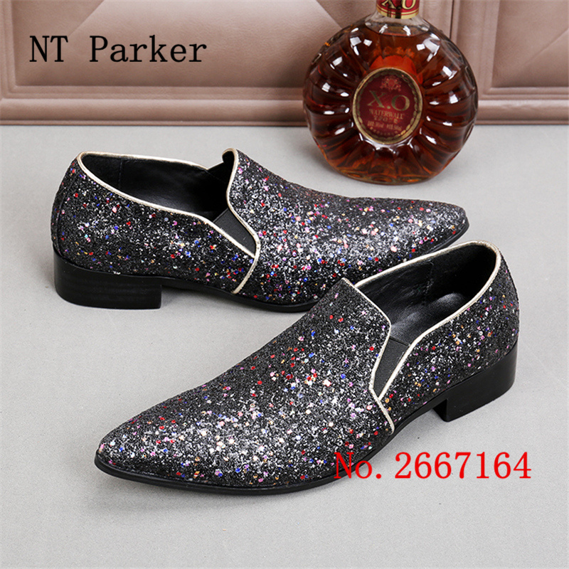 Bling Paillette Men Casual Wedding Shoes Loafers Luxury Ntparker  Espadrilles Men Pointed Toe Dress Shoes Male Creepers Shoes -in Men s  Casual Shoes from ... 9a2041666581