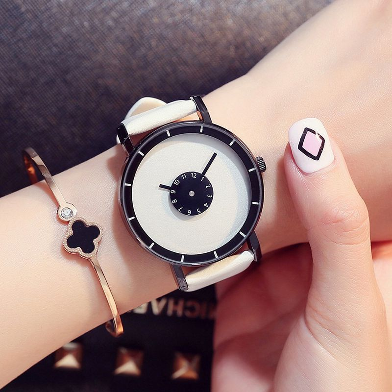 New fashion creative women watches men quartz watch 2017 Top brand unique dial design lovers' watch leather wristwatches clock цена и фото