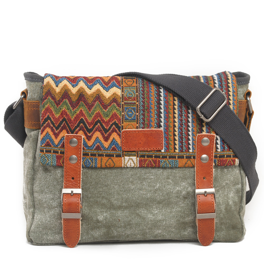 Vintage Etnice Canvas Messenger Bag Femei Chineză Stil umăr sac Femeie casual Național Bag Mujer Broderie Crossbody Bag
