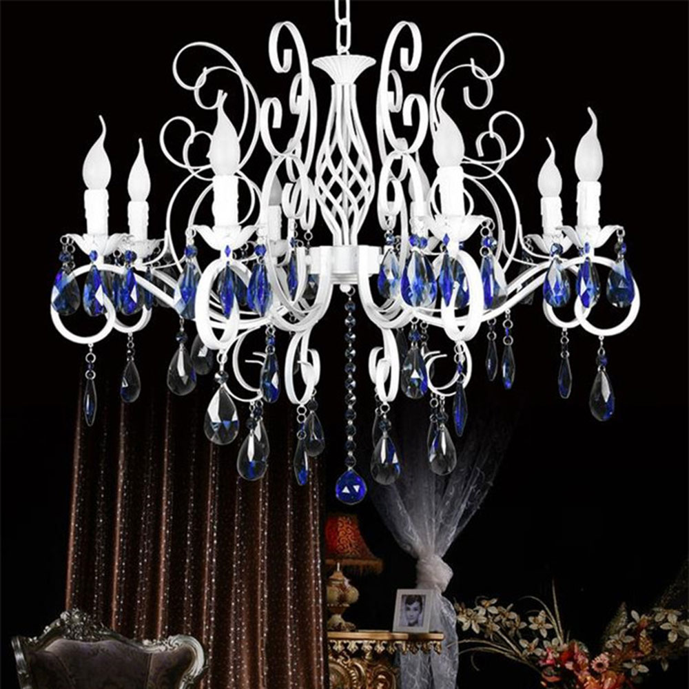Modern White wrought iron chandelier lights Blue crystal decoration chandeliers lamps fixtures pendant chain luminaria lustre wrought iron chandelier island country vintage style chandeliers flush mount painting lighting fixture lamp empress chandeliers