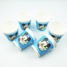6Pc/SET Mickey Mouse Birthday Tableware Party Decoration Kids Supplies Favors Theme Paper Drinking Cup For kids boy girls