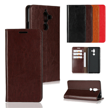 LUCKBUY For Huawei Enjoy 7 7S Plus Top Quality Classic Business Crazy Horse Pattern Genuine Leather Cover huawei 6S