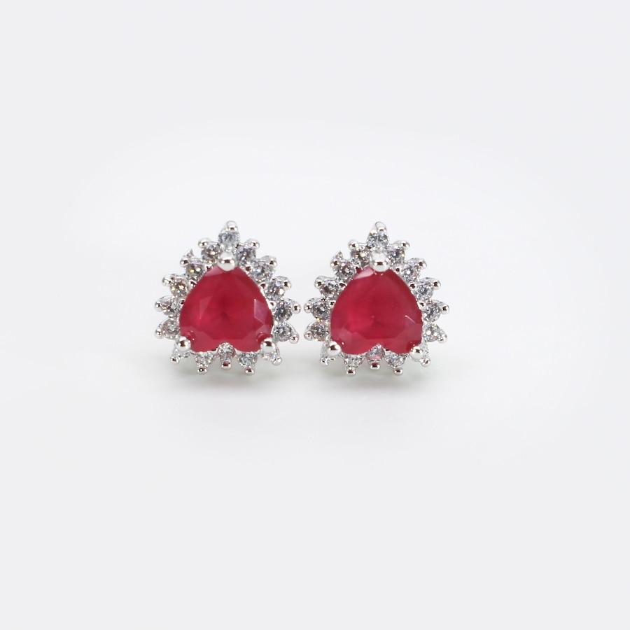 Red Diamond Stud Earrings