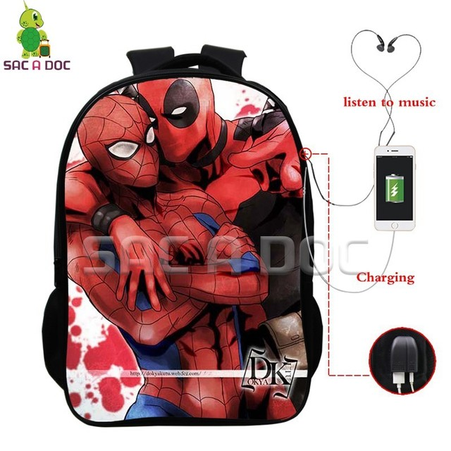 7aee57431ba6 Deadpool Super Hero Multifunction Backpack School Bags for Teens Men Women USB  Charging Headphone Jack Laptop Backpack