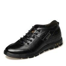 Мужские кожаные оксфорды 2017 повседневная обувь невидимый Лифт обувь для мужчин Классические Сапоги на танкетке на шнуровке Calzado размер 42