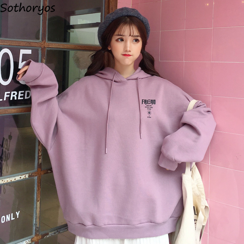 Hoodies Women O-neck Thicker Plus Velvet Solid Simple All-match Korean Style High Quality Soft Pullovers Womens Trendy Kawai Hoodies & Sweatshirts