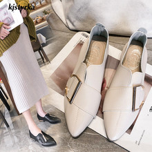 Kjstyrka 2019 brand designer elegant Women Flats PU leather fashion pointed toe high quality buckle Retro Brogue zapatos mujer