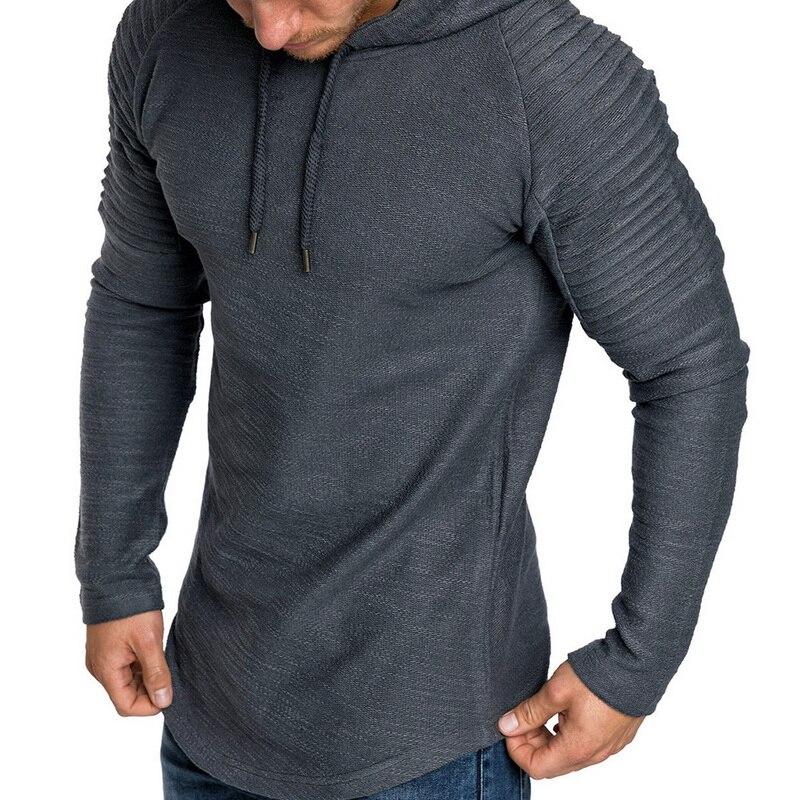 2018 New Hooded Running T Shirt Men Bodybuilding Black Long Sleeve shirt Autumn Pleated Tank Tops Striped Men Gym Clothing