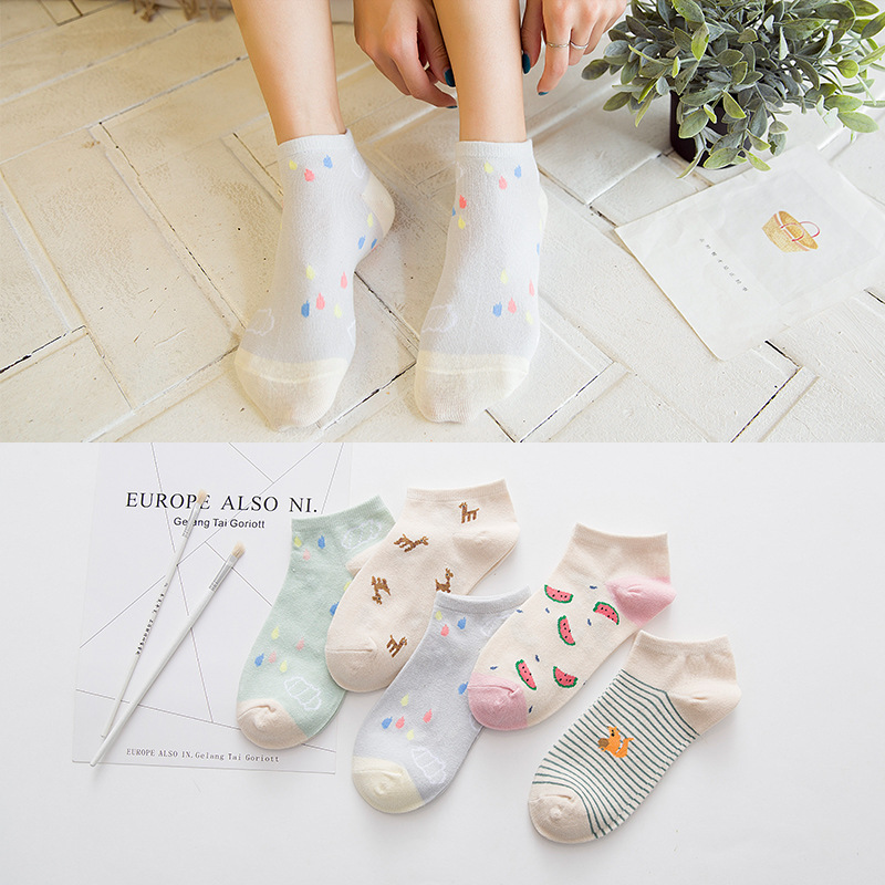 Solid Color Cute Cotton Ladies Socks Fruit Watermelon Animal Stripe Female Socks Casual Short Woman Boat Socks 2Pair Lot in Sock Slippers from Underwear Sleepwears