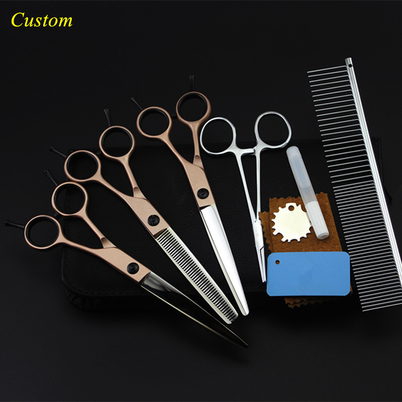 Custom 5 kit japan 440c 7 inch rose Pet dog grooming hair scissors cutting shears pet thinning barber hairdressing scissors set 5 kit professional japan 440c 6 5 inch rose dog grooming hair scissors pet cutting barber thinning shears hairdressing scissors