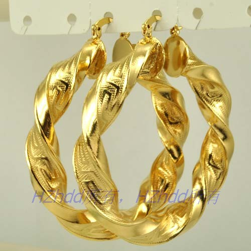 2 16 Inch 55mm Thick 18k Yellow Gold Plated Hoop Earring Greek Key Solid Gp Whole