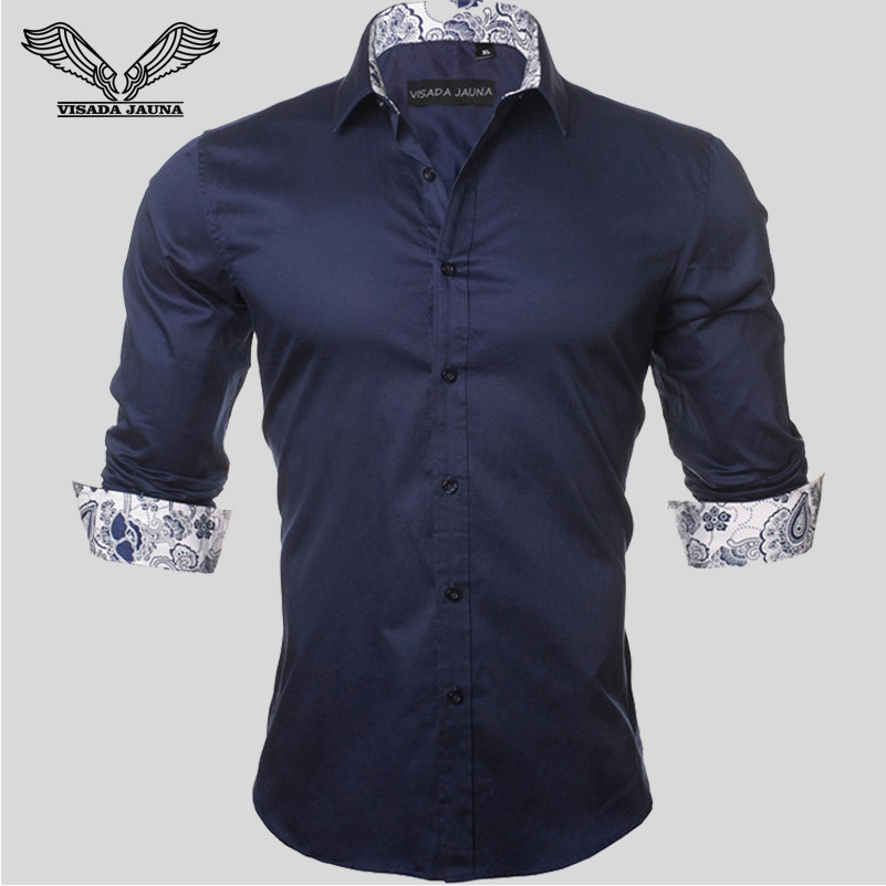 VISADA JAUNA Men's Shirt 2019 Fashion Casual Long Sleeve Solid 100% Cotton Slim Fit Dress Business Shirts Men Brand Clothing 5XL 1