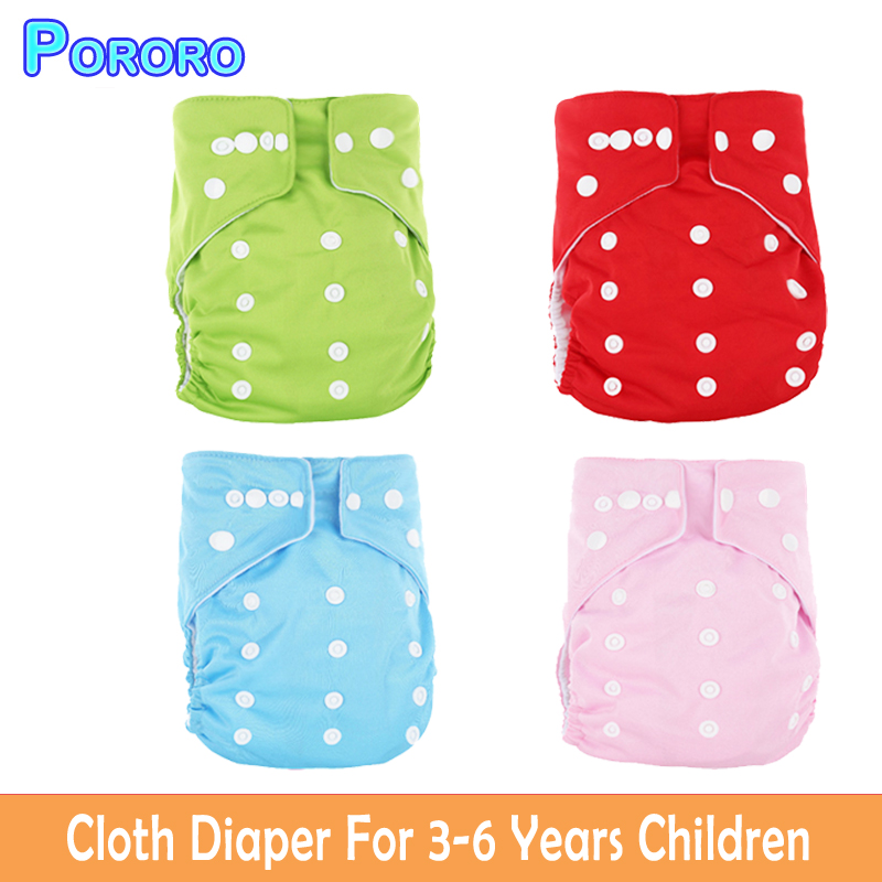 Pororo 3 6 Years Children Cloth Diaper Reusable Solid PUL Cover Wrap Fralda Suede Cloth Adjustable More Than 15KG Kids Diapers in Baby Nappies from Mother Kids