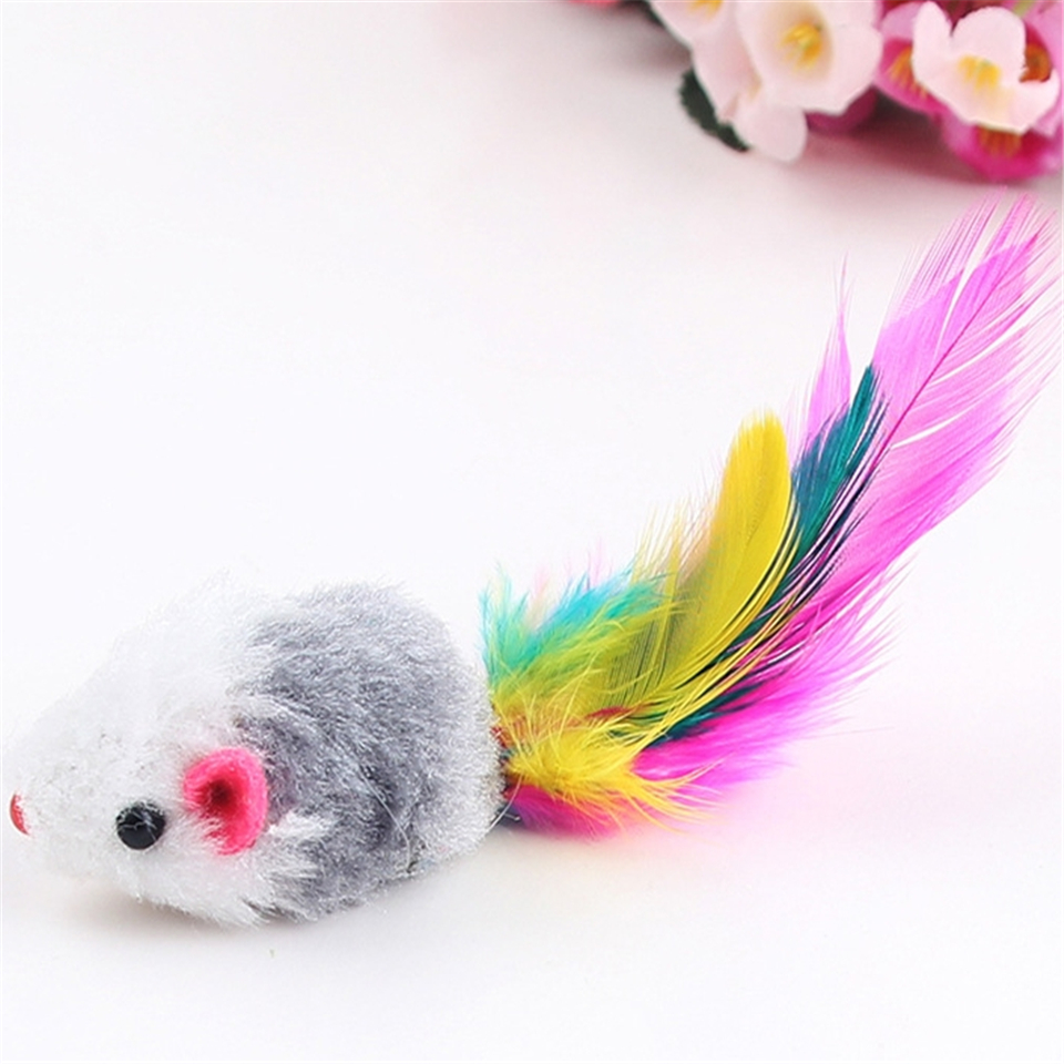 Cute Mini Pet Cats Toy Bright Colored Tail Feathers Little Animation Mouse Mice Toys Random Color