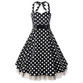 2016 Womens Halter Backless Polka Dots with Mesh 1950s 60s Vintage Retro Style Rockabilly Pin up Swing Summer Party Dresses