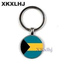 Купить с кэшбэком XKXLHJ Fashion The Vatican/Bahamas Flag Keychain Personality Art Picture Key Ring Jewellery Glass Cabochon Key Chain