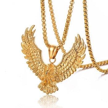 Animal Punk colgante con águila collares de oro plata Color 316L Acero inoxidable colgante de halcón para hombres joyería con cadena de eslabones de caja