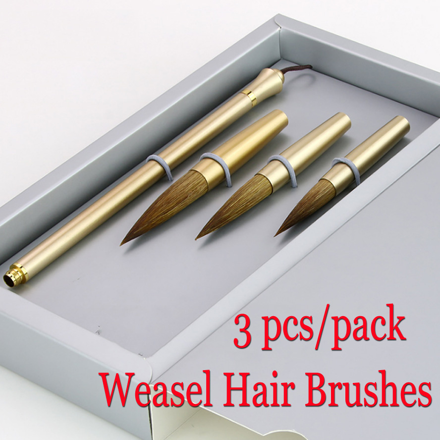 3 pcs New Chinese Calligraphy Brushes Detachable weasel hair brush pen with Detachable tips for artist painting calligraphy 3 pcs chinese calligraphy brushes weasel hair brushes pen for painting calligraphy artist supplies