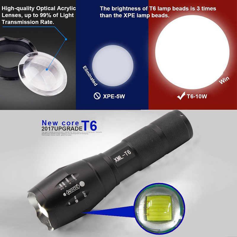 Super brilhante 2000lm xm-l t6 zoomable lanterna tática com alça de mão branco azul verde uv zoom lanterna