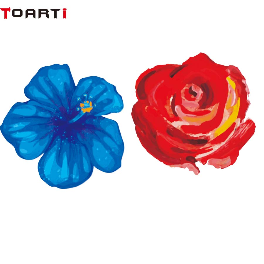 Flower Blue And Red Color Decal Vinyl Car Sticker On Window Funny Auto Decor Modern Car Styling Waterproof Car Goods Accessory