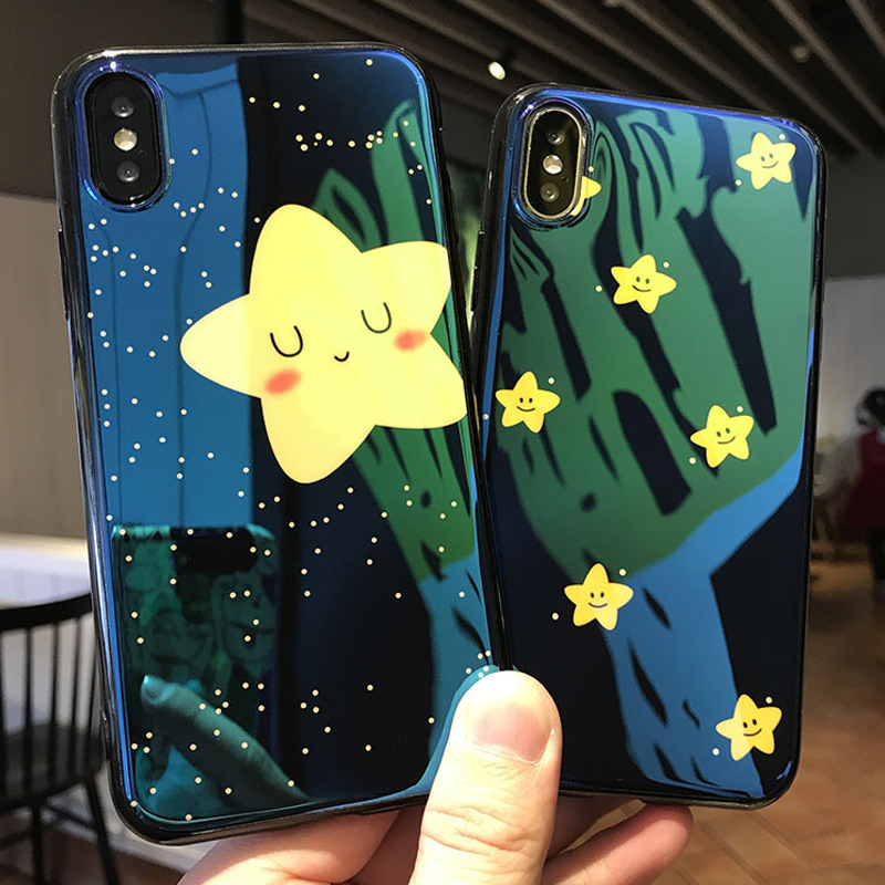JAMULAR For iPhone 6 6S 7 8 Plus X Case Glossy Blue Ray Lovely Yellow Stars Sky Soft Silicone IMD Phone Shell Back Cover Capa