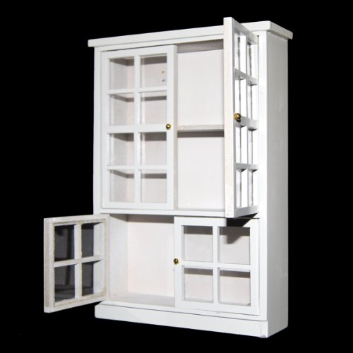 1/12 Dollhouse Miniature Furniture Kitchen Dining Cabinet Display Shelf White