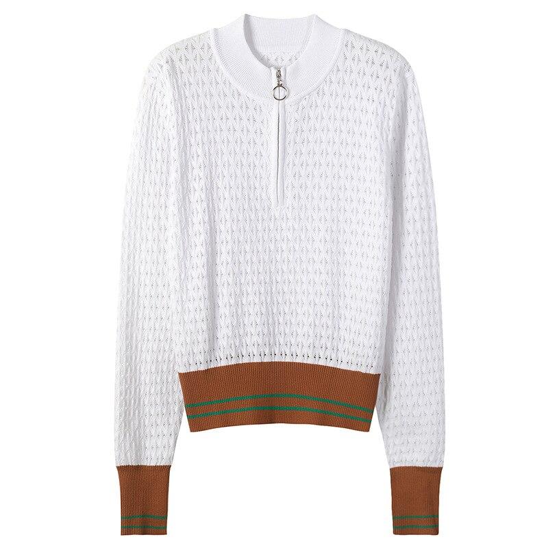 SRUILEE Design Hollow Out Sweater 2018 New Autumn Jumper Women Sweater Zipper Striped Pullovers Long Sleeve Hole Knit Top Runway