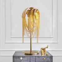 Пост современный Nordic алюминиевая декоративная цепь кисточкой цепь моды Роскошные творческих спальня гостиная вилла тумбочка лампа