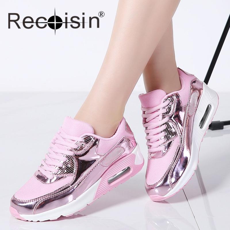 a1a77b3c Planos oro Zapatos Casual Cesta De Recoisin Negro 2018 plata Femeninos  Zapatillas Moda Tenis Mujer Con Cordones rosado Transpirable c81vZ1zxwq