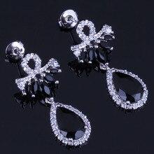 Jolly Water Drop Black Cubic Zirconia White CZ 925 Sterling Silver Dangle Earrings For Women V0711