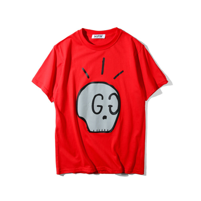 high quality 2017 summer new Europe tide brand Unisex t-shirt letter skeleton print men / women fashion cotton tops tees GABYDED