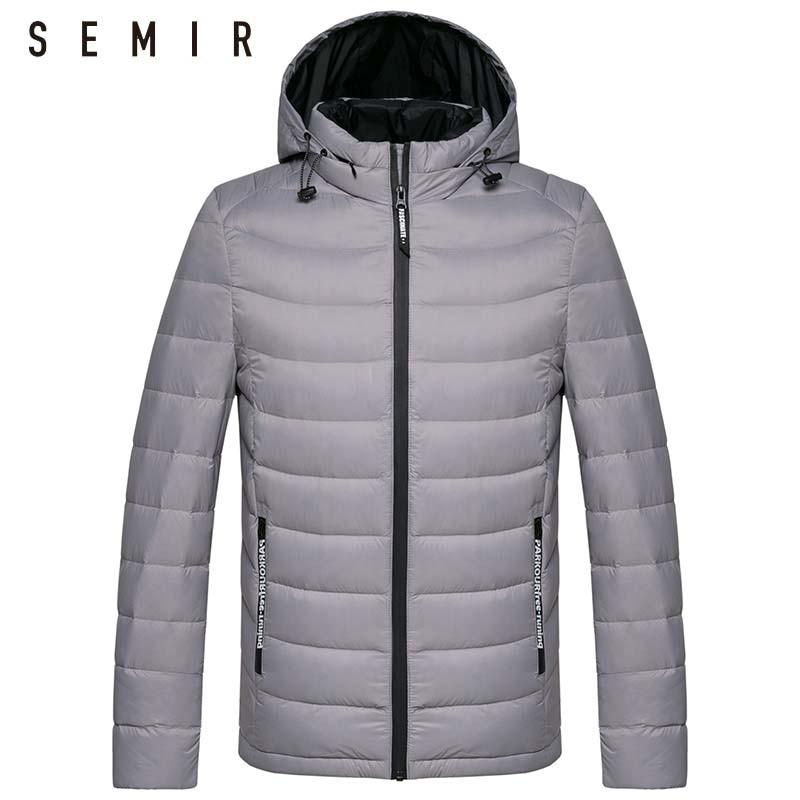 SEMIR abajo chaqueta para los hombres invierno desmontable con capucha chaquetas hombre pato cuello de pie ropa a prueba de viento ocasional outwear la capa