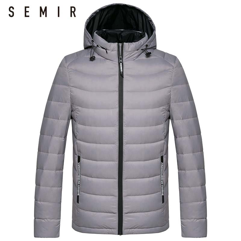 SEMIR down jacket for men Detachable winter hooded jackets male man duck Standing collar windproof clothing casual outwear coat