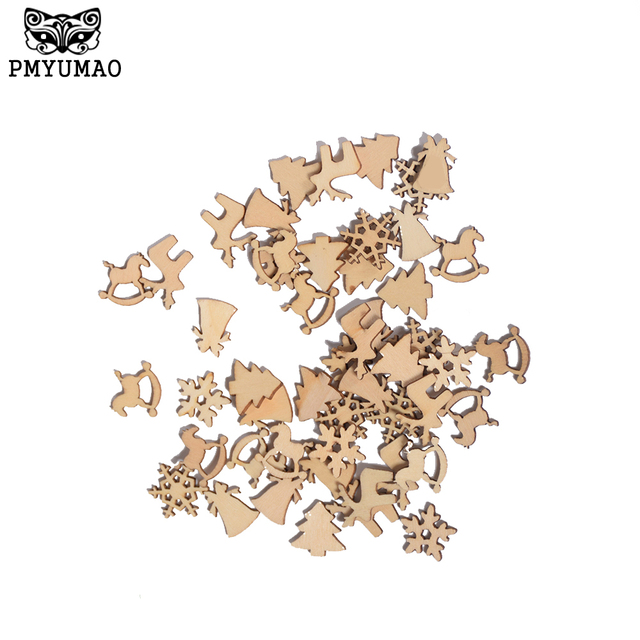 pmyumao hot sales 30pcslot 20mm natural wood christmas ornaments reindeer tree snow flakes rocking - Horse Christmas Ornaments