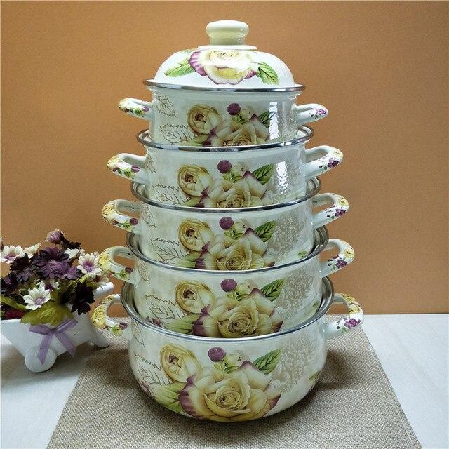 Porcelain Enamel Flower 5 Soup pots Rose Frying pot with Cover Painted General Purpose Cookware Soup Stock Pots Cooking Pots