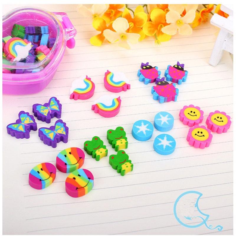 21pcs / Box , Rainbow Eraser Set , Kawaii Weather / Sun / Animal Rubber Eraser As School Pencil Eraser For Kids