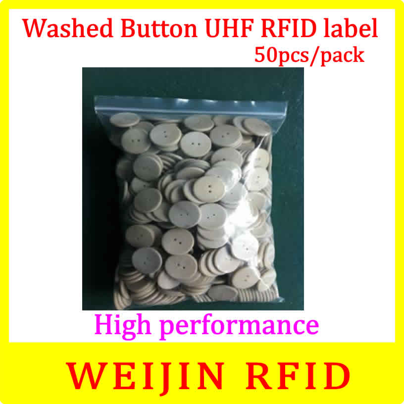 VIKITEK Washed button tag 50pcs per pack 860-960MHZ UHF RFID Alien Higgs3 chip PPS material can be washed free shipping