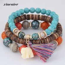 Xiacaier Wooden Beads Bracelets For Women Bohemia Elephant Tassel Charm Bracelets & Bangles Set Boho Vintage Jewelry Femme 2017