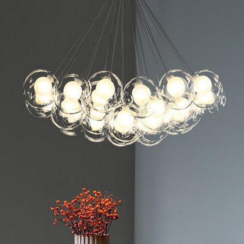 Simple glass chandelier Modern living room bubble chandelier Bedroom dining room glass ball lighting led lighting fixture led modern crystal chandelier hanging lighting birdcage chandeliers light for living room bedroom dining room restaurant decoration