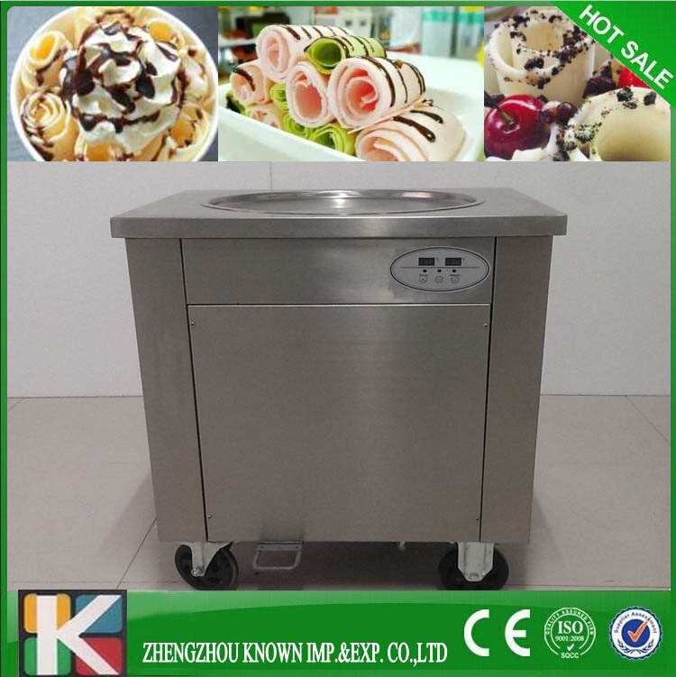 usa canada free shipping by sea 110V double square pan fried ice cream machine with R410a fry ice cream roll machine  family car with a refrigerator for ice creams bottle drinks free shipping by sea